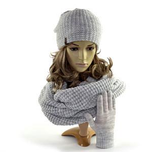 Czapka, komin, rękawiczki, komplet damski w kolorze siwym