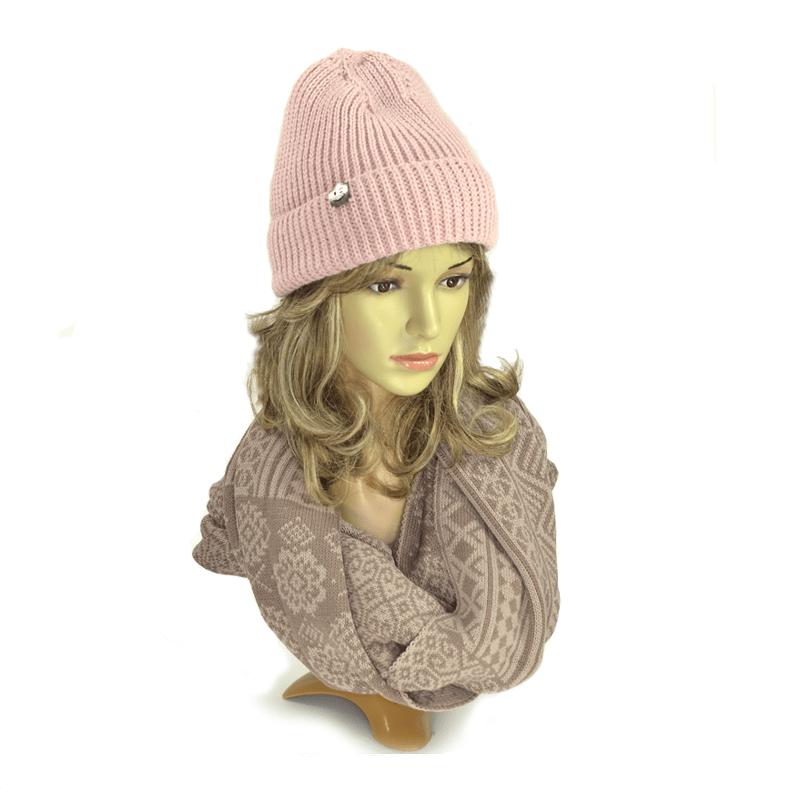 czapka-zimowa-damska-pudrowy-róż