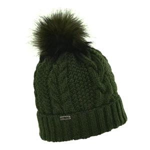 czapka-welniana-zielona-z-pomponem