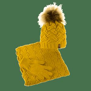 czapka-welniana-komin-rekawiczki-miod